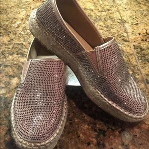 Kaari Blue pink rhinestone slip on shoes